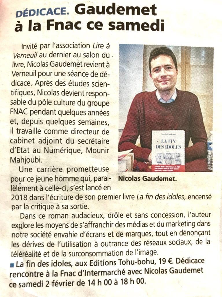 Nicolas Gaudemet directeur de cabinet adjoint de Mounir Mahjoubi, dans la Dépêche pour La Fin des idoles