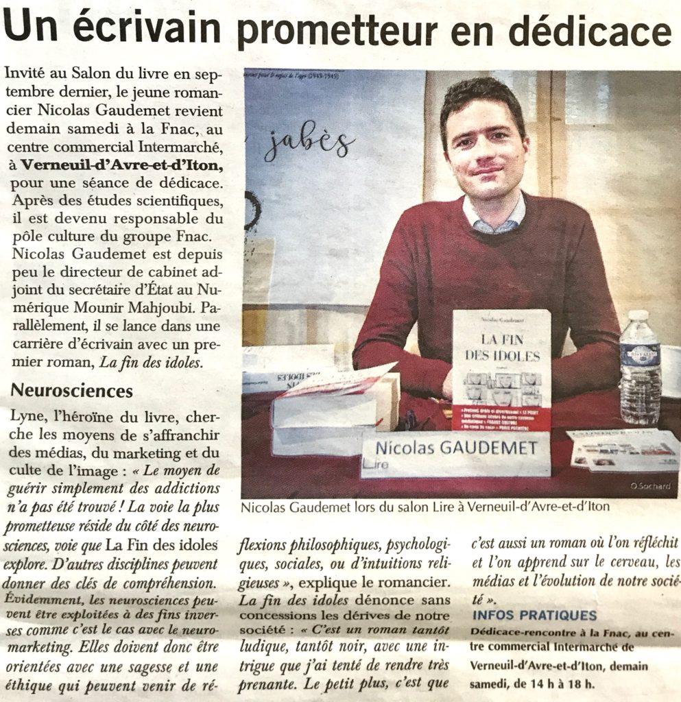 Nicolas Gaudemet écrivain dans Paris Normandie
